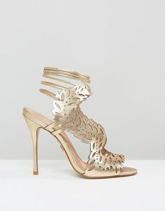 KG By Kurt Geiger Horatio Gold Laser Cut Ghillie Heeled Sandals