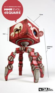 """4SQUARE stands around 19cm/7.5"""" tall. FOUR LEGS GOOD - EVERYTHING ELSE BAD! 80USD shipped for one SINGLE 4SQUARE. July 9th, only at Bambalandstore. #threeA#AshleyWood"""