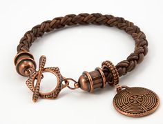The Valiant Bracelet, featuring TierraCast's Labyrinth Pendant, Round Beaded Frame, Forged Clasp and Pagoda Cord Ends. Design by Tracy Gonzales for TierraCast. Leather Cord Bracelets, Leather Jewelry, Bracelets For Men, Bangle Bracelets, Necklaces, Copper Jewelry, Beaded Jewelry, Men's Jewelry, Jewelery