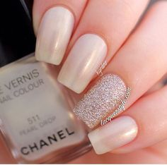 Chanel- Pearl Drop. Perfect wedding nails.