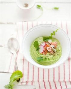 ... Guaranteed to Satisfy: Avocado and Apple Soup with Poached Salmon