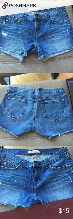 "J Brand factory distressed cut off Jean shorts 28 J Brand factory distressed cut off Jean shorts 28 (17"" across waist band, 8.5"" rise, 2.5"" inseam) J Brand Shorts Jean Shorts"