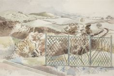 """""""Icknield Way"""" by Paul Nash, 1932 (Chalk and watercolour on paper)"""