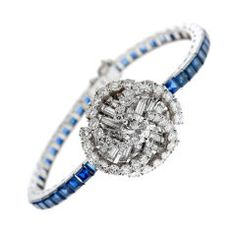 OMEGA BackWind Diamond, Sapphire and Platinum 1950's Close-Cover at 1stdibs