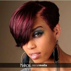 Ideas hair burgundy plum black women - All For Hair Color Trending Short Sassy Hair, Short Hair Cuts, Short Hair Styles, Natural Hair Styles, Black Ponytail Hairstyles, Weave Hairstyles, Hairstyles Videos, Hairstyles Pictures, Simple Hairstyles