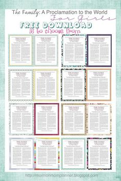 LDS Planners for Moms: Free Proclamation Downloads for Girls