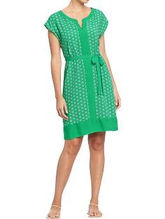 Women's Printed Cap-Sleeve Shift Dresses | Old Navy