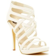 Michael Antonio Thorstein High Heel Sandal Strappy High Heel Sandal ($30) ❤ liked on Polyvore featuring shoes, sandals, heels, shoe's, white, open toe sandals, white platform sandals, strappy sandals, strappy heeled sandals and high heel shoes