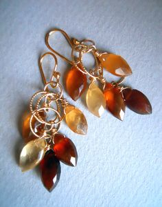 Falling Leaves Hessonite Garnet Earrings. $66.00, via Etsy.