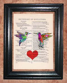 Hummingbirds in Love  Vintage Dictionary Book Page by CocoPuffsArt, $9.99