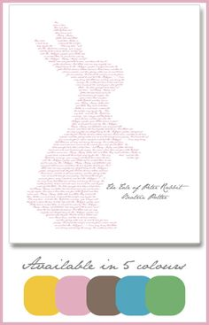 Free Peter Rabbit Print - The Tale Of Peter Rabbit text in the shape of a rabbit