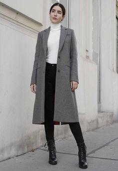 Smart-Casual Style für Frauen, grauer Mantel für den Herbst, grauer Mantel für Frauen, weißer Rollkragenpullover für Frauen, schwarze Schnürschuhe, #zalandostyle, #womenstyles, #womenoutfits, #autumn, #autumnlooks Zalando Style, Neue Outfits, Get The Look, What To Wear, Normcore, Elegant, Shopping, Fashion, Outfit