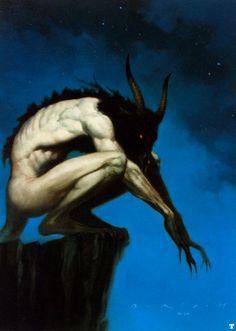 Artwork by Brom Gerald. Black, horned creature #Blue, #Demon, #Evil, #Dark