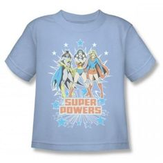 Super Powers Light Blue T-Shirt - Show your true strengths in this great vintage style tee for kids and adults featuring Batgirl, Supergirl and Wonder Woman.