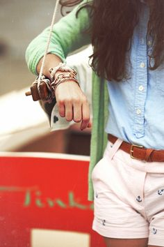 Shorts: J. Crew. Cardigan: Banana Republic (old). Oxford: J. Crew. Bracelets: Loren Hope.  Kiel James Patrick.