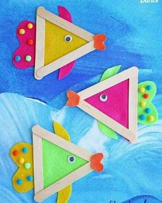 Popsicle stick fish craft for kids. Summer craft- Popsicle stick fish craft for kids. Summer craft Popsicle stick fish craft for kids. Glue Crafts, Craft Stick Crafts, Crafts To Do, Felt Crafts, Easy Crafts, Craft Sticks, Popsicle Sticks, Craft Ideas, Popsicle Stick Crafts For Kids