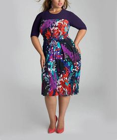 Take a look at the IGIGI Larkspur Abstract Sapphira Tie-Waist Dress - Plus on #zulily today!