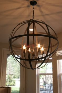Beautiful Orb Chandelier For Interior Lighting Ideas: Orb Chandelier With Metal And Pendant Plus Glass Windows Also Transparent Curtains For Interior Design