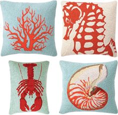 turquoise & coral pillows.  I want these. so cute.