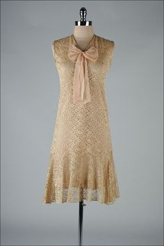 1920's Taupe Lace Dress - pretty dress, could be a wedding dress minus the bow! I hate bows