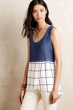 Anthropologie Tops - Anthropologie Deletta Tiered Gridwork Tank - L Diy Clothes, Clothes For Women, Delena, Spring Summer Fashion, Spring 2016, Casual Wear, What To Wear, Style Inspiration, My Style