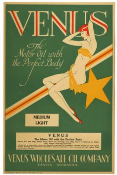 ANTIQUE 1929 VENUS MOTOR OIL ADVERTISING RISQUE PIN UP SIGN ART DECO JAZZ AGE NR