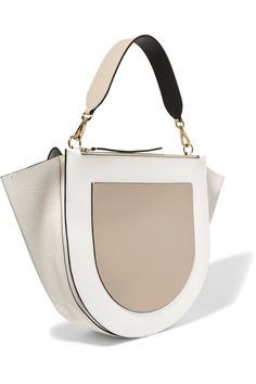 Cream and off-white smooth and textured-leather, taupe and black smooth-leather Magnetic-fastening front flap