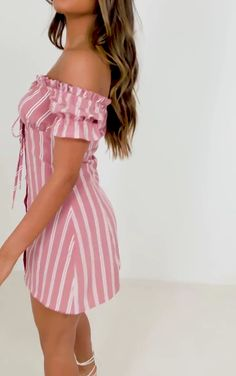 The Stone Button Through Ruched Bardot Shift Dress. Head online and shop this season's range of dresses at PrettyLittleThing. Pink Fashion, Cute Fashion, Fashion Dresses, Womens Fashion, Pink Outfits, Trendy Outfits, Cool Outfits, Club Dresses, Day Dresses