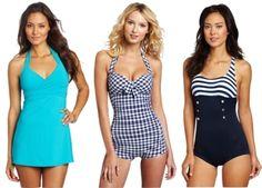 For Pear shaped women: Crossover Swim Dress, Indigo Boyleg Maillot, Seaview Boyleg Maillot