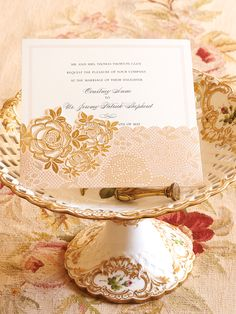 Anna Griffin blush and gold foil die cut pocket wedding invitation