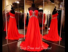 Strapless Red Chiffon Long Dress