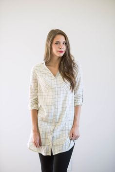 Cream Grid Tunic