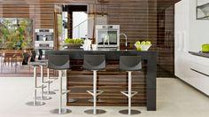 light floor, dark cabinets Contemporary high gloss lacquered kitchen MIAMI eggersmann küchen GmbH & Co. KG