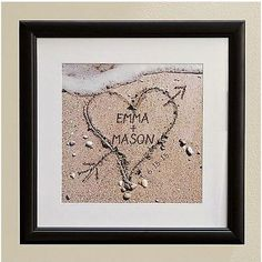 Heart In Sand Framed Print | Engagement Party Gifts For Couples, Him, Her, Bride, Groom | Wedding Gifts