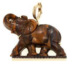 Rarities Fine Jewelry with Carol Brodie Rarities: Fine Jewelry with Carol Brodie Tiger's Eye and Smoky Brown Quartz Elephant Enhancer Pendant