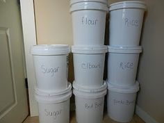 we use good sealing paint buckets for storing bulk items like wheat and grains, beans and sugar.