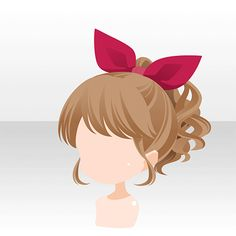 Anime hair curly ponytail with bow/scarf/tie