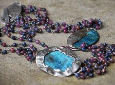 La Via Lattea   Handmade sIlver and tormalines chain, copper and silver pendants with patina  http://www.mimietoile.it/en/shop/via-lattea-2/