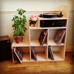 Vinyl storage and Stereo stand by DCHCBespoke on Etsy