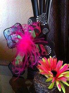 Medium Black, Hot Pink and Mint Wood Cross