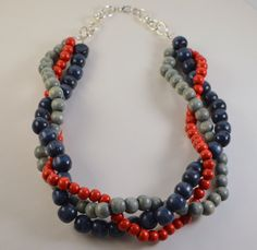 Patriotic Twisted Wooden Necklace by RadiantByRetha on Etsy