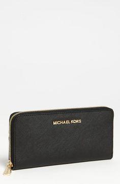 MICHAEL Michael Kors 'Jet Set' Saffiano Zip Around Wallet