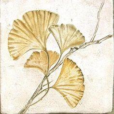 Leaf Imprint Ginkgo x Hand Painted Ceramic Tile Painting Ceramic Tiles, Tile Art, Art Floral, Art Nouveau Tiles, Leaf Jewelry, Leaf Art, Hand Painted Ceramics, Botanical Art, Pattern Art