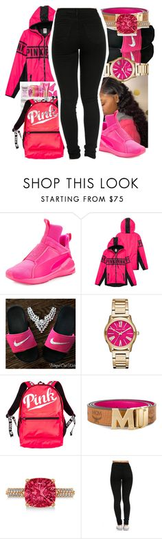 """""""Petty In Pink"""" by queen-sugah900 on Polyvore featuring Puma, Michael Kors, Victoria's Secret, MCM and Allurez"""