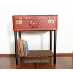 Handmade Leather Suitcase Side End Table with Storage Shelf