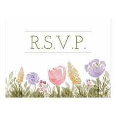Spring Watercolor Flowers Wedding RSVP Postcard - postcard post card postcards unique diy cyo customize personalize