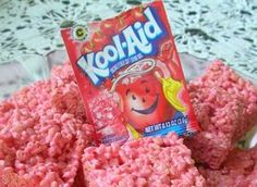 Jazz up Rice Krispy Treats with Koolaid - Just add unsweeten Koolaid to the melted marshmallows before adding the Rice Krispies.  Suggested to make two separate batches of different colors and combine for rainbow effect.