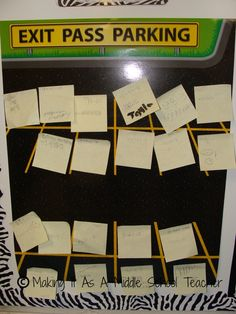exit ticket post-its with parking spaces