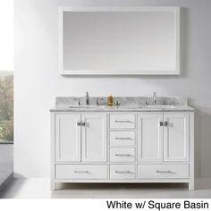 virtu usa caroline avenue 60inch double sink bathroom vanity set white finish w square basin size double vanities