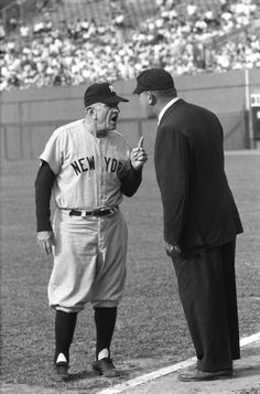 Casey Stengel exchanges pleasantries with an umpire. #mlb #baseball